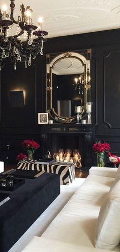 Rich elegant living room with dark walls