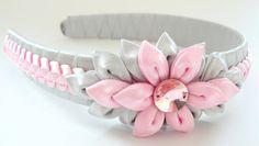 Kanzashi Fabric Flower headband pink and grey. by JuLVa on Etsy, $18.00