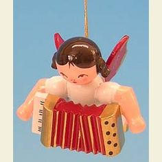 Angel with accordion  -  Red Wings  -  floating  -  5,5cm / 2,1 inch