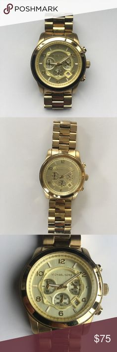 "Michael Kors oversized chronograph gold watch Michael Kors gold oversized chronograph watch.    Needs a battery replacement otherwise perfect used condition.    Unclasped, watch is approx 9.5"" around.  Clasped, it is approx 7.5"" around.  Face measures approx 1.5"" across. Michael Kors Jewelry"