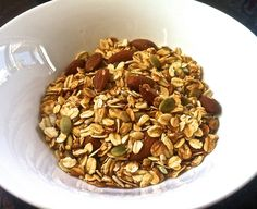 INGREDIENTS 3 c Whole Oats 1 ½ c shredded coconut 1/2c pumpkin and sunflower seeds 2 handfuls almonds or nuts of choice ⅓ c sesame seeds 1 t rock salt 2 T coconut oil 2 T honey optional: 1c of Mill...