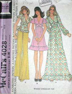 VTG McCalls Misses BOHO Mini Maxi X Bodice Babydoll Dress Pattern 4028 UC s10 | eBay