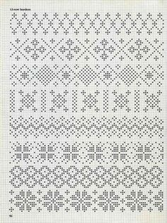 some fair isle patterns These would be great for the palms of mittens!See 4 Best Images of Knitting Fair Isle Pattern ideas about filet crochet charts onpergamano - Page and can be subtle too. Blackwork Cross Stitch, Biscornu Cross Stitch, Cross Stitch Borders, Cross Stitch Embroidery, Fair Isle Knitting Patterns, Knitting Charts, Weaving Patterns, Knitting Stitches, Fair Isle Chart