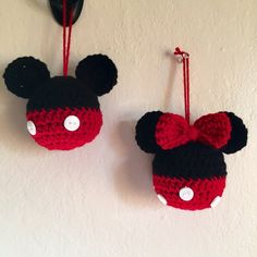 made to order Set of 2 crochet mickey and minnie mouse inspired ball ornaments 1 mickey 1 minnie Reserved for Courtnie N. Set of 3 crochet by MorganBrynDesigns ter volgorde haak mickey of minnie mouse geïnspireerd bal Puppy Keychain or Zipper Pull – Ya Crochet Christmas Ornaments, Christmas Crochet Patterns, Holiday Crochet, Crochet Gifts, Cute Crochet, Crochet Toys, Crochet Baby, Knit Crochet, Ball Ornaments