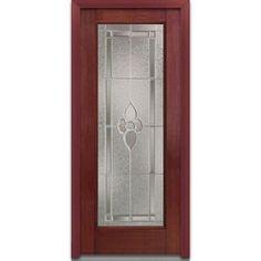 Milliken Millwork 36 in. x 80 in. Mahogany Master Nouveau Decorative Glass Full Lite Finished Fiberglass Prehung Front Door-EFM686MNN30LHWCH - The Home Depot