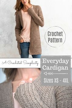 Crochet Pattern - Everyday Cardigan by A Crocheted Simplicity (includes women's sizes XS thru 4XL)  #crochetpattern #crochetcardigan #fallfashion #crochetsweater