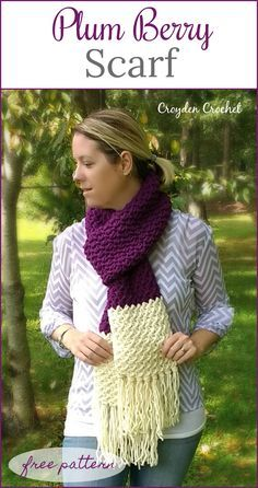 Crochet Scarf Ideas Crochet this gorgeous textured scarf using Lion's Pride Woolspun yarn! - Crochet this gorgeous and easy Plum Berry Scarf using Lion's Pride Woolspun Yarn! A beginner friendly pattern! Knit Or Crochet, Learn To Crochet, Crochet Scarves, Crochet Shawl, Crochet Crafts, Crochet Stitches, Crochet Projects, Crocheted Scarf, Beginner Crochet