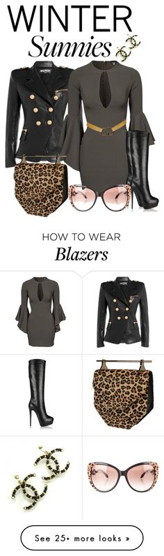 """I See U"" by amanningc on Polyvore featuring Balmain, John Zack, Giuseppe Zanotti, Christian Dior, Roberto Cavalli, M2Malletier and wintersunnies"