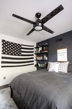 The Perfect Ceiling Fan Teen Boy - Cassie Bustamante Shabby Bedroom, Boys Bedroom Decor, Room Ideas Bedroom, Teen Room Decor, Bedroom Designs, Teen Bedroom, Teen Boy Rooms, Teen Boy Bedding, Boy Bedrooms