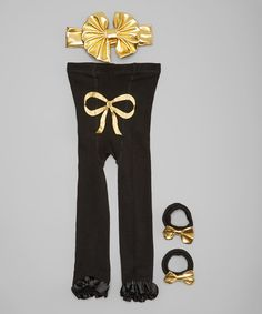 Another great find on #zulily! Gold & Black Mimi Leggings Set - Infant & Toddler #zulilyfinds
