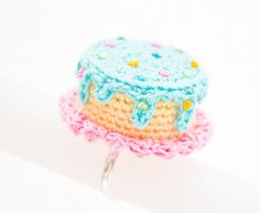 Blue Dripping Icing Rainbow Heart Confetti Cake Mini Crochet Ring by Sugar Junkie $30