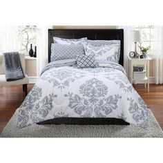 Grey Damask Theme Comforter Twin/Twin XL Set Modern Luxury Bedrooms Elegant Medallion Native Rich Textural Design Motif Printed Bedding Stylish Swirl