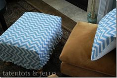 Fast and Easy Pleated Ruffle Ottoman Slipcover {tutorial}!!