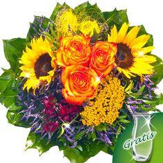 Blumenstrauß Indian Summer mit Vase  Gelbe Sonnenblumen und orange Rosen machen diesen Strauß zu einem echten Hingucker.  Dieser wunderschöne Sonnenblumenstrauß besteht aus 3 zweifarbigen (gelb-roten) Rosen, 2 Sonnenblumen, 2 blaue Limonium, 1 gelben Achillea, 1 roten Bartnelke, 1 gelben Sisalband, 3 Pistochia und 10 Salal. Der Durchmesser beträgt ca. 30 cm. Dazu erhalten Sie einen Beutel Blumennahrung und eine Pflegeanleitung.