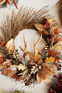 Have we got a trophy for you. Pier 1's Oversized Rattan Antler Wreath is crafted by hand from a prized bushel of natural rattan, finished with pinecones, autumn-hued leaves and faux antlers. Show it off above a mantel, on your front door or laid flat as a unique harvest centerpiece.