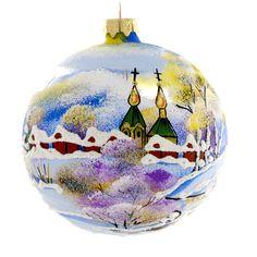 "Decorating Christmas Balls Glass Ukrainian Village"" Hand Painted Christmas Ball Christmas"