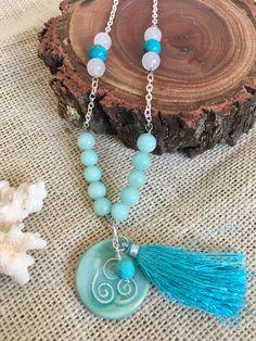 Blue Tassel Neckalce  Long Necklace  Tassel by GreenGeckoJewellery