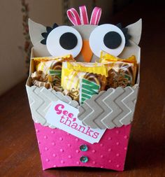 Laura's Works of Heart: FRY BOX  does duty as an Owl TREAT HOLDER: