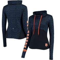 Auburn Tigers Colosseum Women's Scaled Cowl Neck Pullover Hoodie - Navy