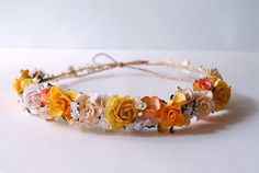 Paper Flower, Headband, Yellow Tone Color.