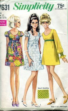 Sewing Patterns Vintage Out of Print Retro,Over 7000 ,Vogue Simplicity McCall's - Simplicity 7631 Retro 1960's Babydoll Mod Dress 32.5