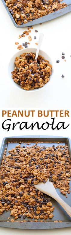4 Ingredient Granola 5 tablespoons creamy peanut butter 3 tablespoons honey 2 cups old fashioned oats ½ cup semi-sweet chocolate chips Preheat to 325 Add peanut butter and honey to a medium bowl. Place in the microwave for 15-30 seconds to slightly melt the honey and peanut butter. Toss in the old fashioned oats and stir until coated. Place on a baking sheet lined with a silicone baking mat. Bake for 15 minutes and allow the granola to cool. The granola with get crunchier as it cools it