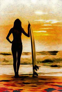 Surfer Girl - Venice Seaside by David Rozansky SurfHair Surf Hair, Surfing Pictures, Surfs Up, Venice Beach, Beach Art, Strand, Image, Beach Hairstyles, Men's Hairstyle