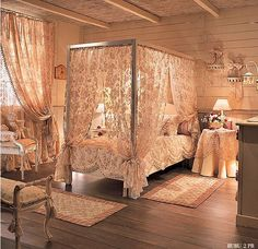 Canopy Romantic And Classic Interior Decor For Young Girl Bedroom By Halley home trends design photos, home design picture at Home Design and Home Interior Romantic Bedroom Design, Romantic Room, Romantic Bedrooms, Bedroom Designs, Home Bedroom, Girls Bedroom, Bedroom Decor, Peach Bedroom, Bedroom Ideas