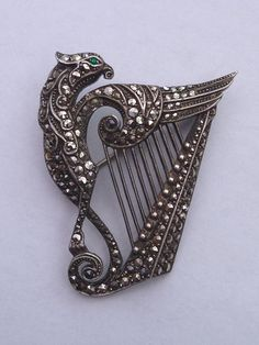 Vintage Silver Marcasite Brooch Pin Harp Griffin Irish Stamped Germany