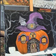 Wow Painting, Witch Painting, Hippie Painting, Autumn Painting, Painting Videos, Halloween Arts And Crafts, Halloween Fairy, Halloween Doodle, Halloween Christmas