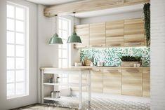 Coup de coeur pour cette cuisine totalement bois. La mosaïque avec différents tons de vert rehausse et donne du pep's ! Palette Verte, Style Retro, 3 D, Divider, Totalement, Curtains, Interior, Table, Room