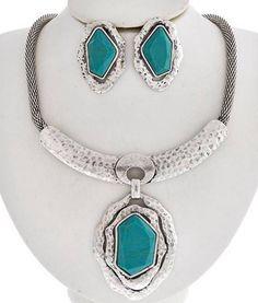 Chunky Western Cowgirl Gold Turquoise Acrylic Necklace Earring Costume Jewelry #Uniklookjewelry #chunkypendant