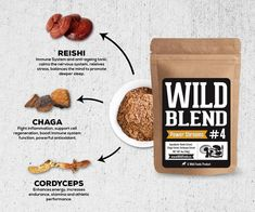 Our Wild Blend of Power Shrooms is Reishi, Chaga, and Cordyceps mushroom extracts. Mushroom Benefits, Spices Packaging, Mushroom Spores, Growing Mushrooms, Organic Protein, Grow Your Own Food, Superfood, Cool Things To Make, Stuffed Mushrooms
