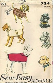 A vintage pattern for a doggie coat (essential in Oregon).