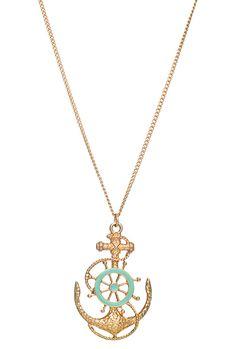 Sea Fathom Nautical Anchor Wheel Pendant Necklace in Mint