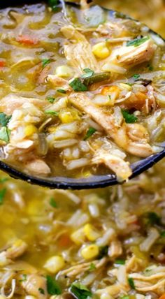 This bold & flavorful chicken and hatch chile stew is ready to go in just 1 hour! It's loaded with shredded chicken, fresh corn, rice and of course, hatch chiles! Healthy Recipes, Mexican Food Recipes, Soup Recipes, Chicken Recipes, Cooking Recipes, Chicken Soup, Chicken Green Chili Soup, Dinner Recipes, Hatch Green Chili Recipe