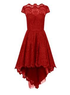** Chi Chi London Red Dip Hem Embroidered Midi Dress