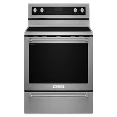 Whirlpool 30-in Smooth Surface Freestanding 5-Burner 6.4-cu. ft. Self-Cleaning Convection Electric Range (Stainless Steel)