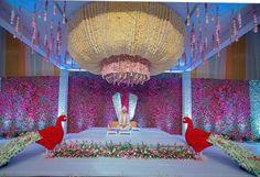 What a wedding decor! Wedding Stage Design, Wedding Stage Decorations, Flower Decorations, Wedding Designs, Wedding Mandap, Wedding Venues, Indian Wedding Theme, Marriage Decoration, Wedding Background