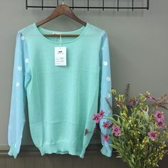 Miracle City Crew Neck Top. Green Crew neck with blue and white sheer poka dot pattern long sleeves. Miracle City Tops Blouses