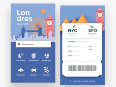 Flights app by Sara Miguel del Almo. Visit the link on our bio to get a discount when enrolling on our mobile app design course! Interaktives Design, Module Design, App Ui Design, Flat Design, Homepage Design, Dashboard Design, Interface Web, Interface Design, App Design Inspiration