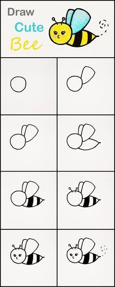 Learn How To Draw A Cute Bee Step By Step Very Simple Tutorial Bee Drawings Kawaii Tutorial Bee Drawing Easy Animal Drawings Cute Easy Drawings