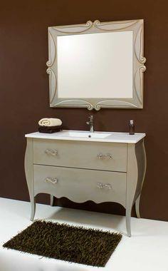 Mueble de ba o blanco envejecido de dos senos cuatro for Marmol blanco cristal