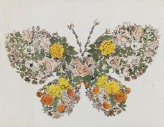 Butterfly of Flowers and Leaves, Andy Warhol, Circa 1956 #andywarhol