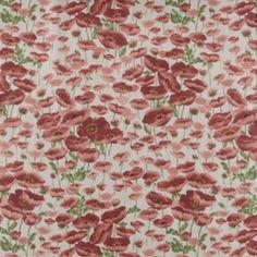 Tekstilvoksdug hørlook m rød blomst