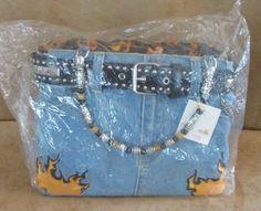 Raybest Jeans Minghaos Motorcycle bag Denim Purse Handbag womens flame belt #Minghos #Satchel