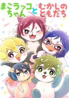 Coloured!  The gang with added cat Rin! ... From raipanda_fr ... Free! - Iwatobi Swim Club, haruka nanase, haru nanase, haru, nanase, haruka, river otter, free!, iwatobi, makoto tachibana, makoto, tachibana, sea otter, nagisa hazuki, nagisa, hazuki, pinguin, rei ryugazaki, rei, ryugazaki, seagull, rin, rin matsuoka, matsuoka, cat
