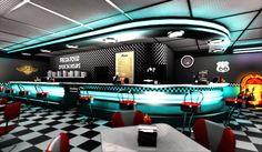Home Decoration For Wedding Code: 1714946160 Hd Diner, 1950s Diner, Vintage Diner, Retro Cafe, Retro Diner, Menu Restaurant Design, Concept Restaurant, Diner Restaurant, 50s Diner Kitchen