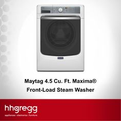 The Maytag 4.5 Cu. Ft. Maxima® Front-Load Steam Washer lets you wash clothes in the evening and have them automatically dried by the morning: