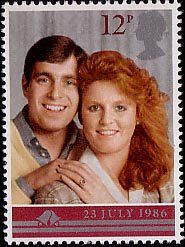Royal Wedding 12p Stamp (1986) Prince Andrew and Miss Sarah Ferguson